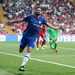 Chelsea striker Olivier Giroud celebrates after scoring against Liverpool in the UEFA Super Cup. (Getty Images)
