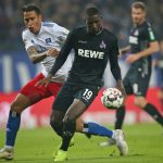 (L-R) Leo Lacroix of Hamburger SV and Serhou Guirassy of 1. FC Koeln battle for the ball during the Second Bundesliga match between Hamburger SV and 1. FC Koeln at Volksparkstadion on November 5, 2018 in Hamburg, Germany. (Photo by Cathrin Mueller/Bongarts/Getty Images)