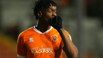 Armand Gnanduillet of Blackpool reacts after missing a shot during the Sky Bet League One match between Blackpool and AFC Wimbledon at Bloomfield Road. (Getty Images)