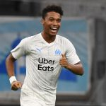 Marseille's French defender Boubacar Kamara celebrates after scoring a goal during the French L1 football match between Olympique de Marseille (OM) and Racing Club de Strasbourg Alsace (RCS). (Getty Images)