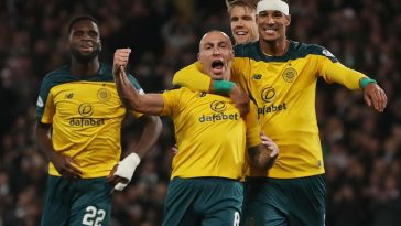 Celtic captain Scott Brown celebrates scoring his team's fourth goal at Hampden Park on November 02, 2019 in Glasgow, Scotland.