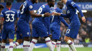 Chelsea players celebrate after a goal. (Getty Images)