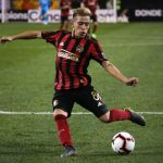 Atlanta United midfielder Ezequiel Barco shoots in the second half of the CONCACAF Champions League playoff football match between Atlanta United and Herediano at the Fifth Third Bank Stadium. (Getty Images)