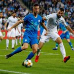 Slovenia's forward Andraz Sporar is marked by Israel's defender Loai Taha (R) during the Euro 2020 Group G football qualification match between Israel and Slovenia in at the Sammy Ofer Stadium in Haifa on March 21, 2019. (Getty Images)