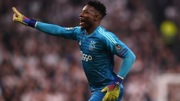 Andre Onana of Ajax celebrates during the UEFA Champions League Semi Final first leg match between Tottenham Hotspur and Ajax at at the Tottenham Hotspur Stadium. (Getty Images)