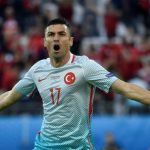 Turkey's forward Burak Yilmaz celebrates after scoring a goal during the Euro 2016 group D football match between Czech Republic and Turkey at Bollaert-Delelis stadium in Lens. (Getty Images)