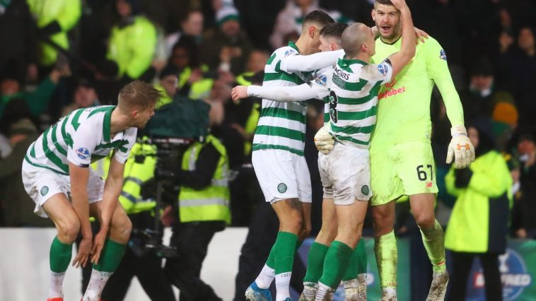 Fraser Forster of Celtic celebrates victory with Scott Brown. (Getty Images)