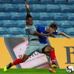 Gabriel Magalhaes of Lille competes for the ball with Kieran Dowell of Everton during the match between Everton FC and LOSC Lille for Algarve Football Cup 2018 at Estadio do Algarve on July 21, 2018 in Faro, Portugal. (Getty Images)