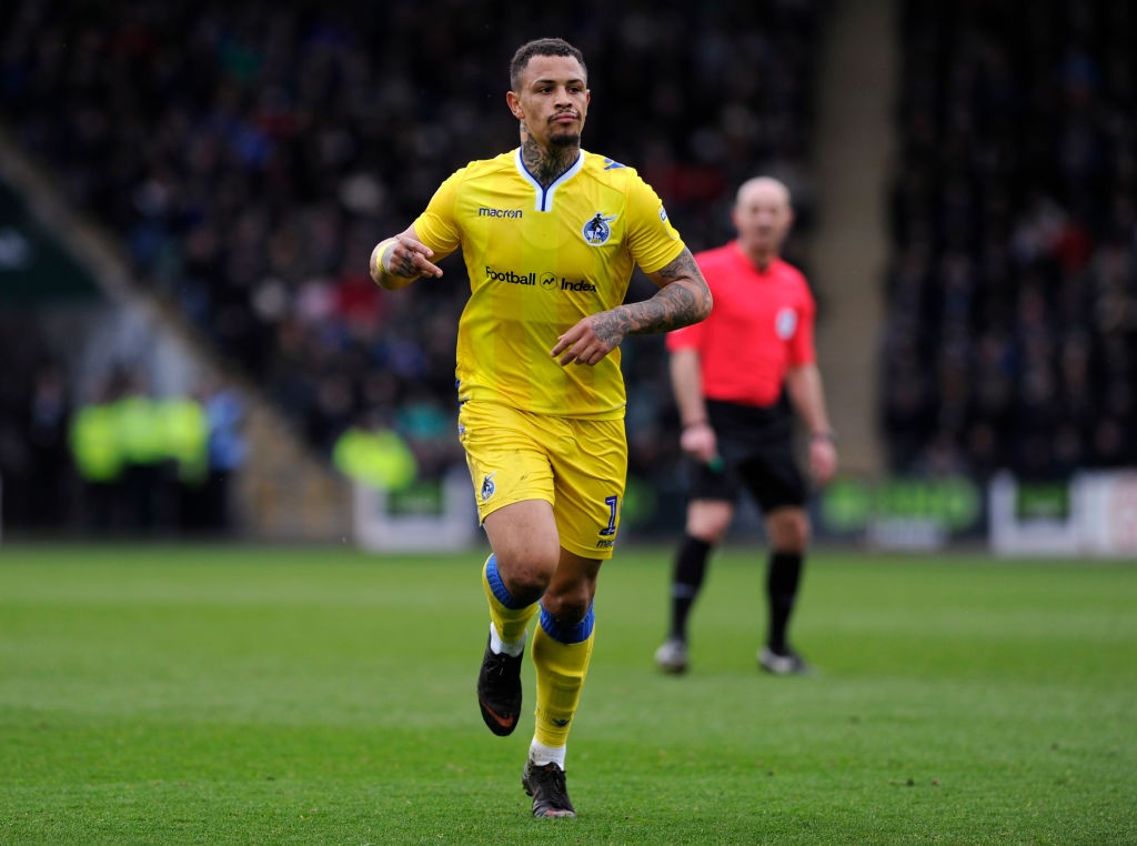 Jonson Clarke-Harris of Bristol Rovers celebrates scoring his team's first goal during the Sky Bet League One match between Plymouth Argyle and Bristol Rovers at Home Park. (Getty Images)