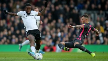 Josh Onomah of Fulham in action with Ben White of Leeds United during the Sky Bet Championship match between Fulham and Leeds United at Craven Cottage on December 21, 2019 in London, England. (Getty Images)