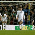 Players of Leeds United react after Cardiff City's second goal during the Sky Bet Championship match between Leeds United and Cardiff City at Elland Road. (Getty Images)