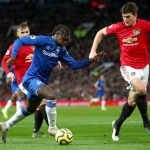 Moise Kean of Everton is put under pressure by Harry Maguire of Manchester United during the Premier League match between Manchester United and Everton FC at Old Trafford on December 15, 2019 in Manchester, United Kingdom. (Getty Images)