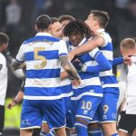 Eberechi Eze of Queens Park Rangers is congratulated after scoring from the penalty spot during the Sky Bet Championship match between Derby County and Queens Park Rangers at Pride Park Stadium on November 30, 2019 in Derby, England. (Getty Images)