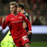 Sebastian Andersson of 1.FC Union Berlin celebrates with teammates after scoring his team's first goal during the Bundesliga match between 1. FC Union Berlin and 1. FC Koeln at Stadion An der Alten Foersterei on December 08, 2019 in Berlin, Germany. (Getty Images)