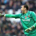 West Ham goalkeeper Roberto Jimenez barking orders to his teammates. (Getty Images)