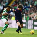 Aaron Hickey of Hearts holds off Karamoko Dembele of Celtic during the Ladbrokes Scottish Premiership match between Celtic and Hearts at Celtic Park on May 19, 2019 in Glasgow, Scotland. (Getty Images)