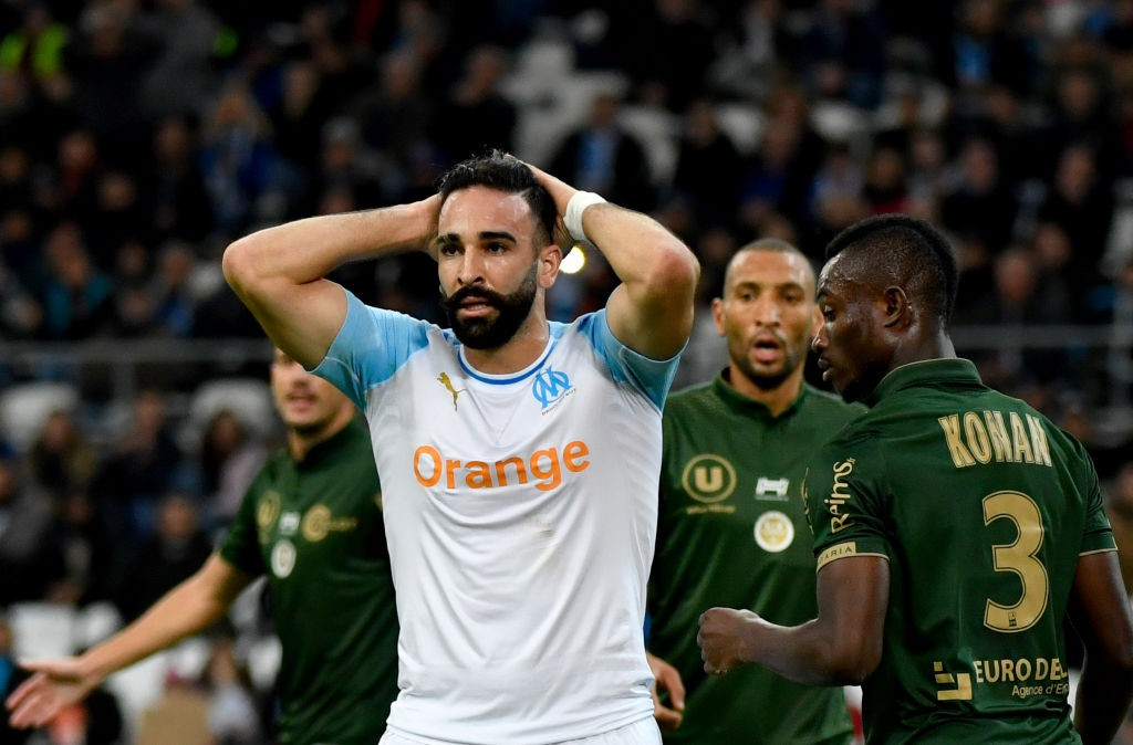 Marseille's French defender Adil Rami reacts after failing to score during the French L1 football match between Olympique de Marseille (OM) and Reims at the Velodrome stadium in Marseille on December 2, 2018 southern France. (Getty Images)