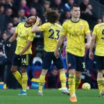 Arsenal players celebrate after scoring. (Getty Images)