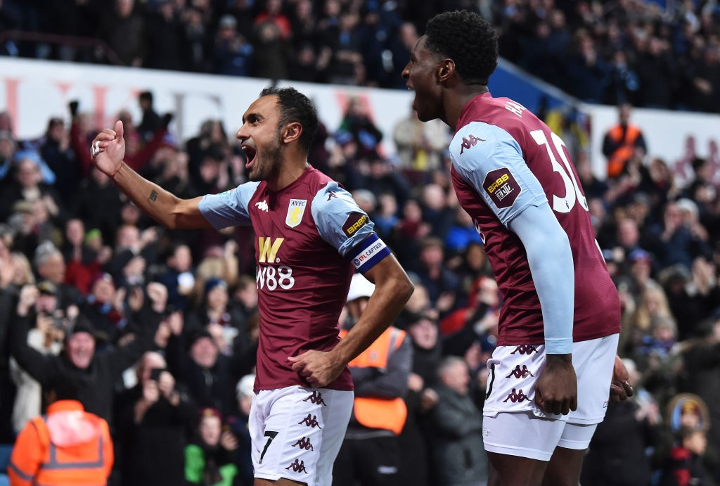Aston Villa players celebrate after a goal. (Getty Images)