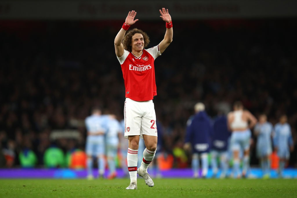 David Luiz of Arsenal acknowledges the supporters following his side's victory during the FA Cup Third Round match between Arsenal FC and Leeds United at the Emirates Stadium on January 06, 2020 in London, England. (Getty Images)