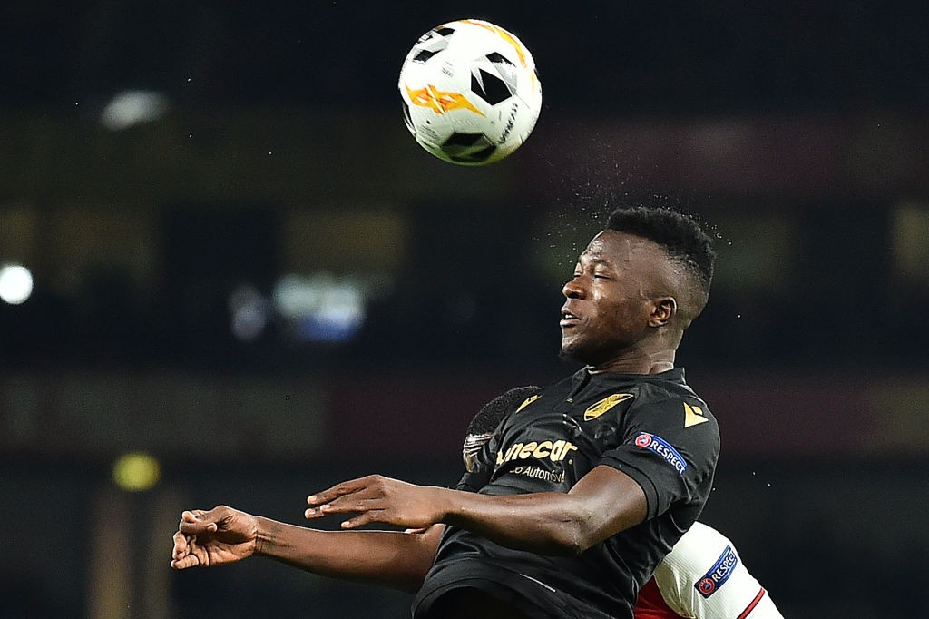 Vitoria Guimaraes' Burkinabe defender Edmond Tapsoba headers the ball during their UEFA Europa league Group F football match between Arsenal and Vitoria Guimaraes at the Emirates stadium in London on October 24, 2019. (Getty Images)