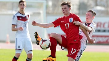 George Tanner of England challenges Jan-Niklas Beste of Germany during the UEFA Under17 match between U17 England v U17 Germany on February 7, 2016 in Lagos, Portugal. (Getty Images)