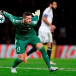 Qarabag's Bosnian goalkeeper Ibrahim Sehic throws the ball during the UEFA Champions League Group C football match between Chelsea and Qarabag at Stamford Bridge in London on September 12, 2017. (Getty Images)