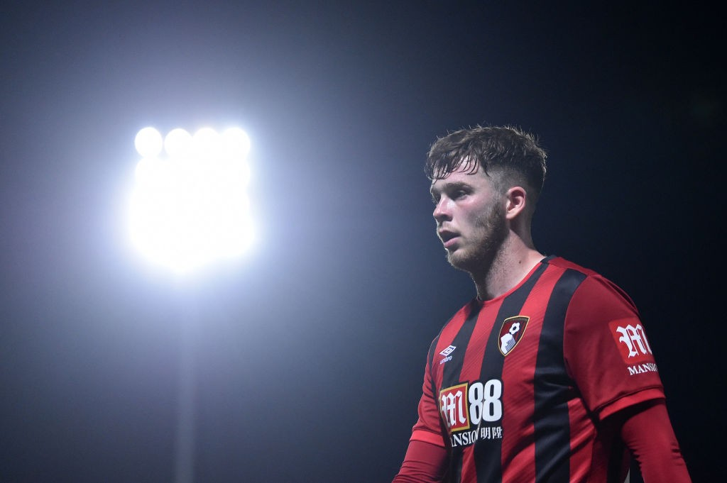 Jack Simpson of AFC Bournemouth looks on during the Carabao Cup Third Round match between Burton Albion and AFC Bournemouth at Pirelli Stadium on September 25, 2019 in Burton-upon-Trent, England. (Getty Images)