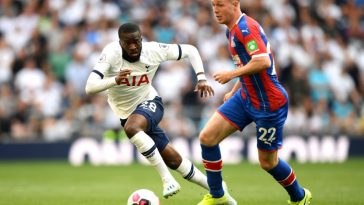 Tanguy Ndombele of Tottenham Hotspur chases down James McCarthy of Crystal Palace during the Premier League match between Tottenham Hotspur and Crystal Palace at Tottenham Hotspur Stadium on September 14, 2019 in London. (Getty Images)