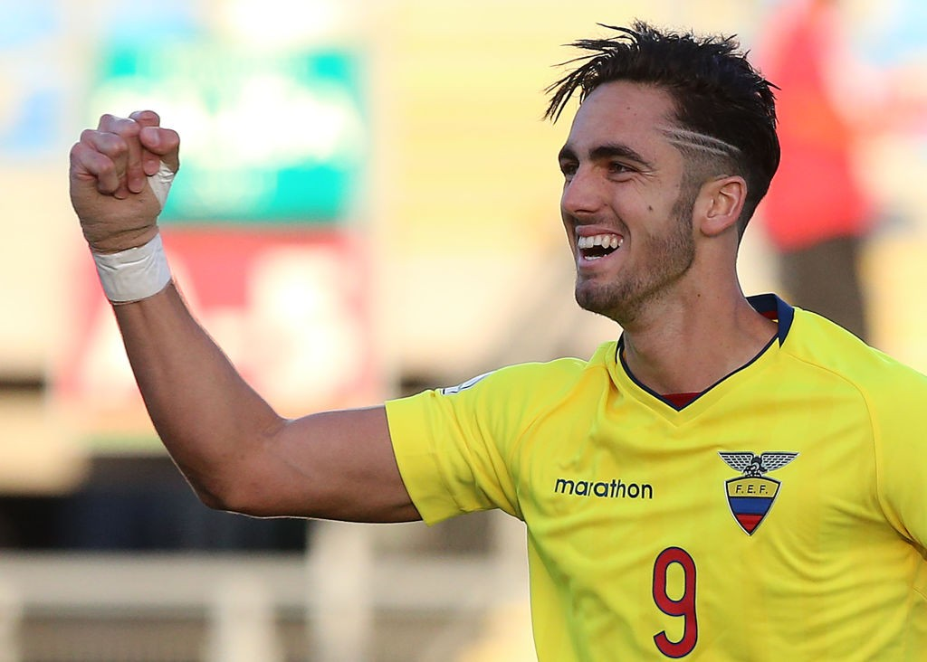 Ecuador's Leonardo Campana celebrates after scoring against Venezuela during their South American U-20 football match at El Teniente stadium in Rancagua on February 10, 2019. (Getty Images)