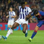 Barcelona's Uruguayan forward Luis Suarez vies with Valladolid's Ghanaian defender Mohammed Salisu (L) during the Spanish league football match between FC Barcelona and Real Valladolid FC at the Camp Nou stadium in Barcelona on October 29, 2019. (Getty Images)