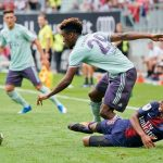 Kingsley Coman of FC Bayern Muenchen and Moussa Sissako of Paris St. Germain during the AUDI Football Summit match between Bayern Muenchen and Paris St. Germain at Woerthersee Stadion on July 21, 2018 in Klagenfurt, Austria. (Getty Images)