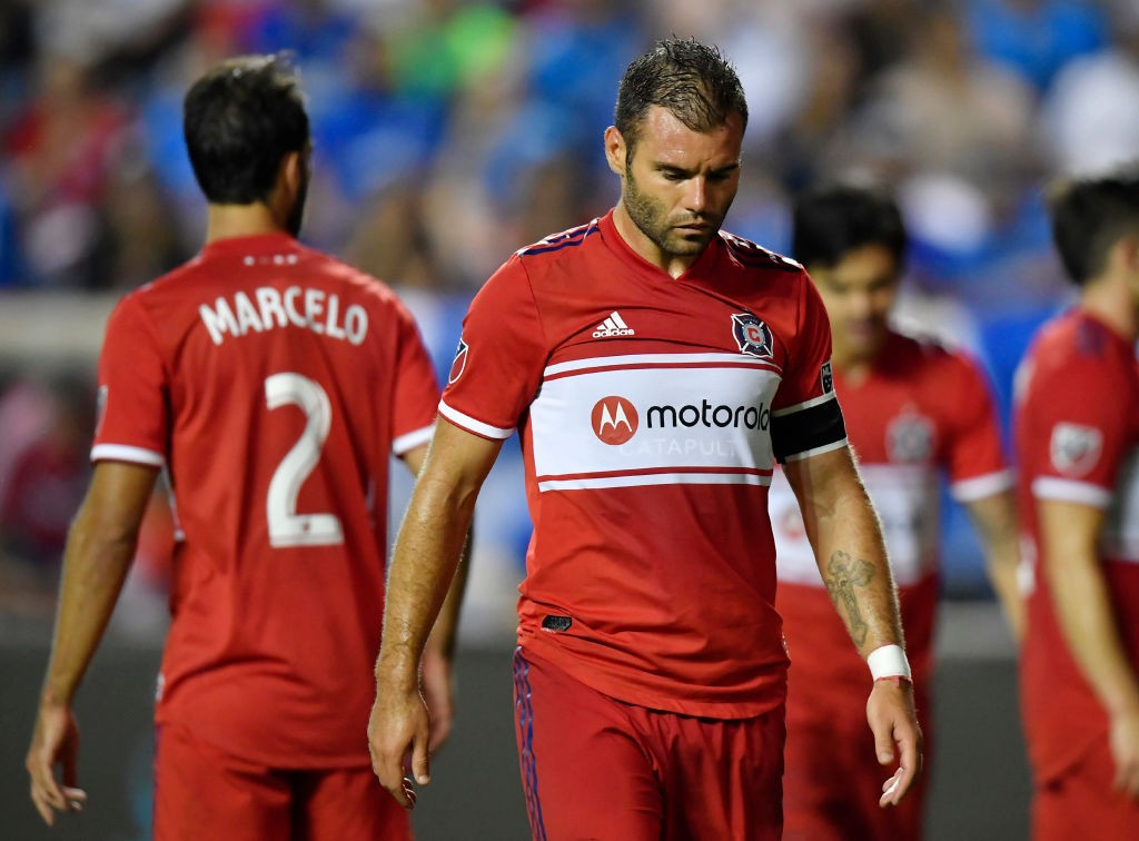 Nemanja Nikolic #23 of Chicago Fire reacts after Cruz Azul scored in the second half at SeatGeek Stadium on July 23, 2019 in Bridgeview, Illinois. (Getty Images)
