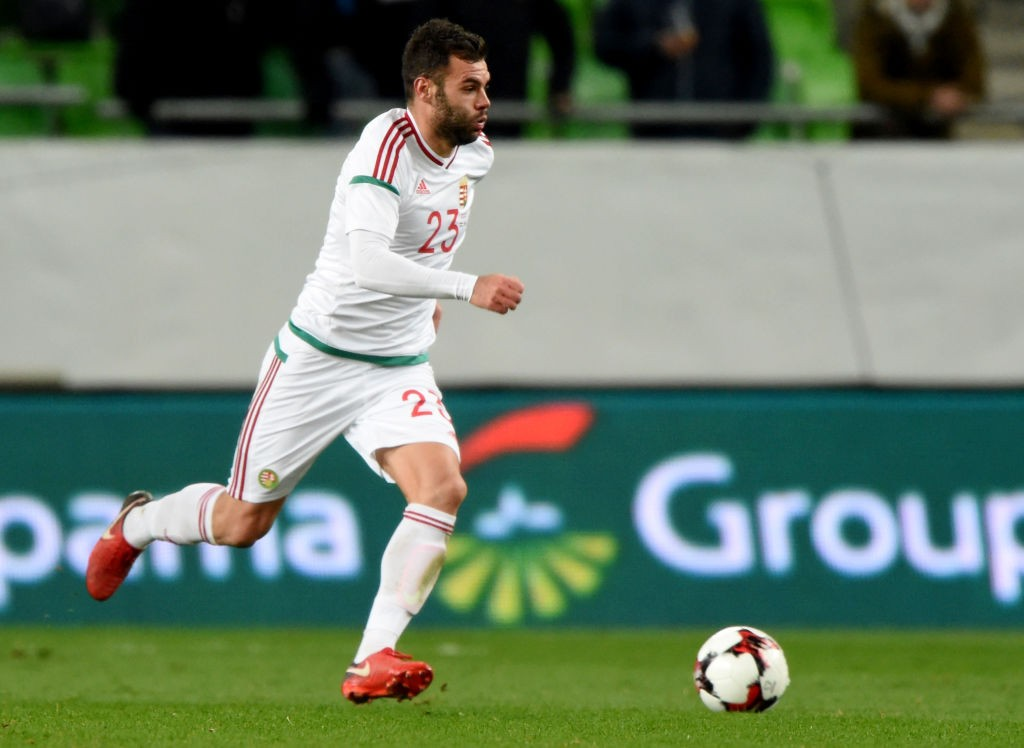 Hungary's Nemanja Nikolic runs with the ball during a friendly football match against Costa Rica on Nocember 14, 2017 in Groupama Arena of Budapest. (Getty Images)