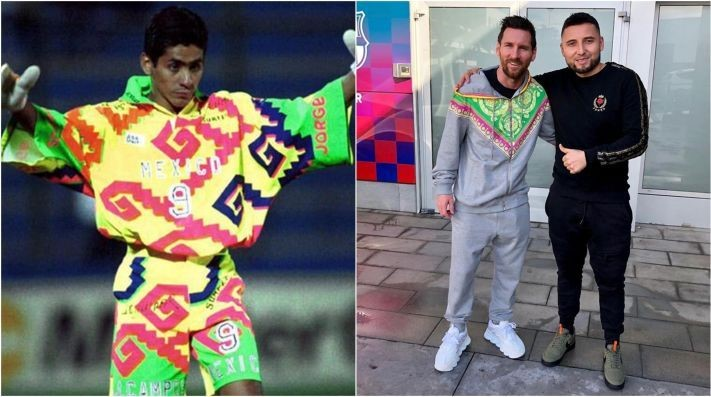 Former Mexican goalkeeper Jorge Campos (L). Lionel Messi sporting Aztec jacket (R) (Image credit: BOLAVIP)