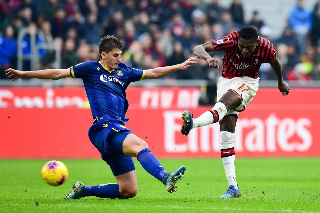 Hellas Verona's Albanian defender Marash Kumbulla tries to block shot by AC Milan's Portuguese forward Rafael Leao last month. (Getty Images)