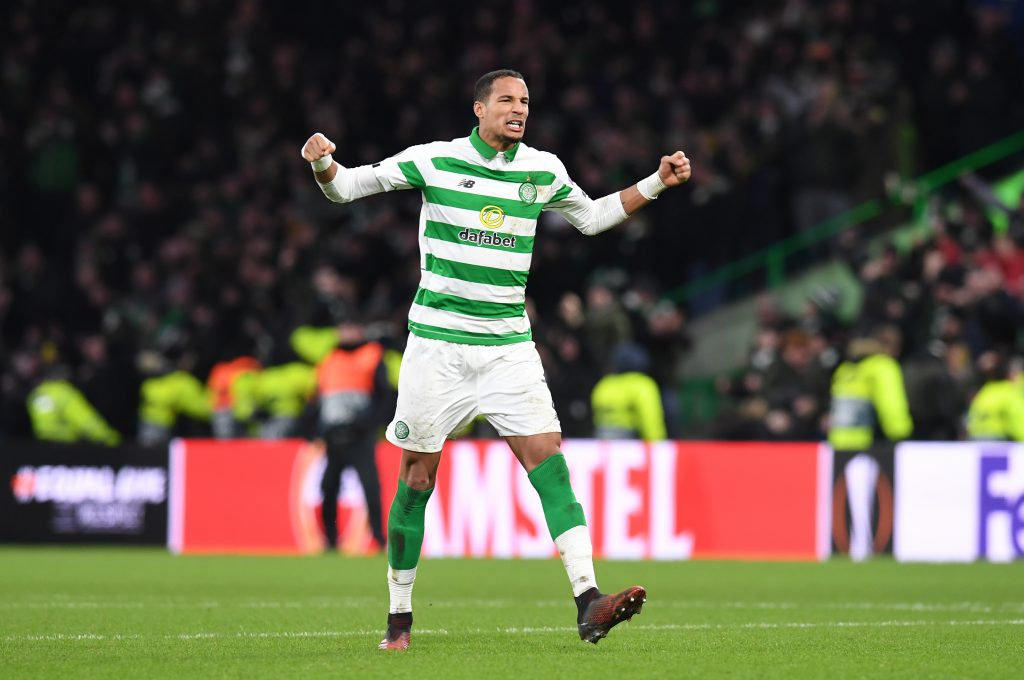 Christopher Jullien of Celtic celebrates after his side scores their first goal during the UEFA Europa League Round-of-32 second leg match against FC Kobenhavn at Celtic Park in February. (Getty Images)