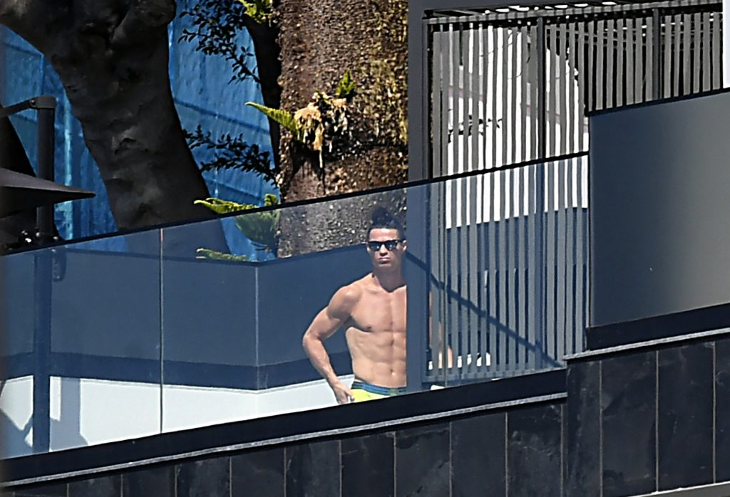 Juventus forward Cristiano Ronaldo spotted sunbathing at his luxury villa in Madeira. (Getty Images)