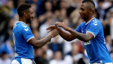 Jermain Defoe and Alfredo Morelos in action for Rangers