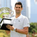 Novak Djokovic with the 2020 Australian Open