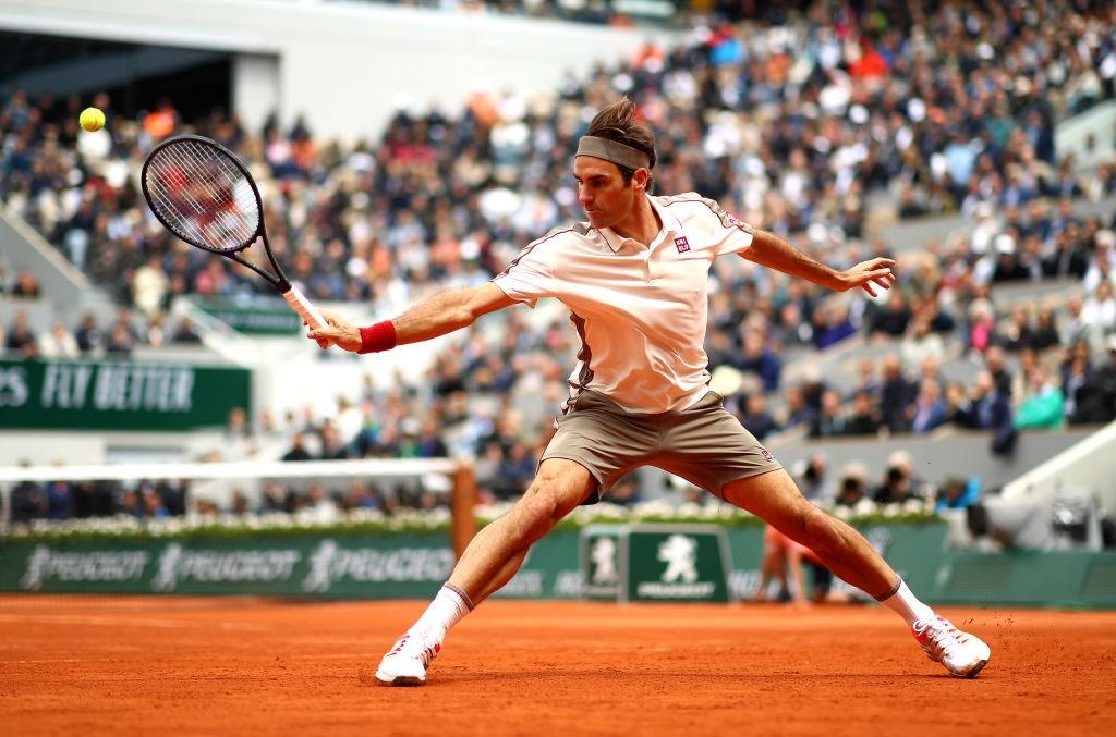 Roger Federer  in action at Roland Garros