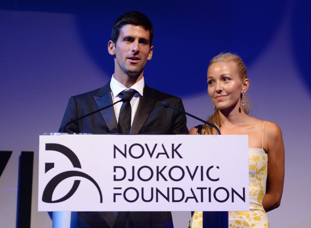 Novak Djokovic and wife Jelena address a gathering during an event organised by the Novak Djokovic Foundation.