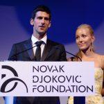 Novak Djokovic and wife Jelena address a gathering during an event organised by the Novak Djokovic Foundation.