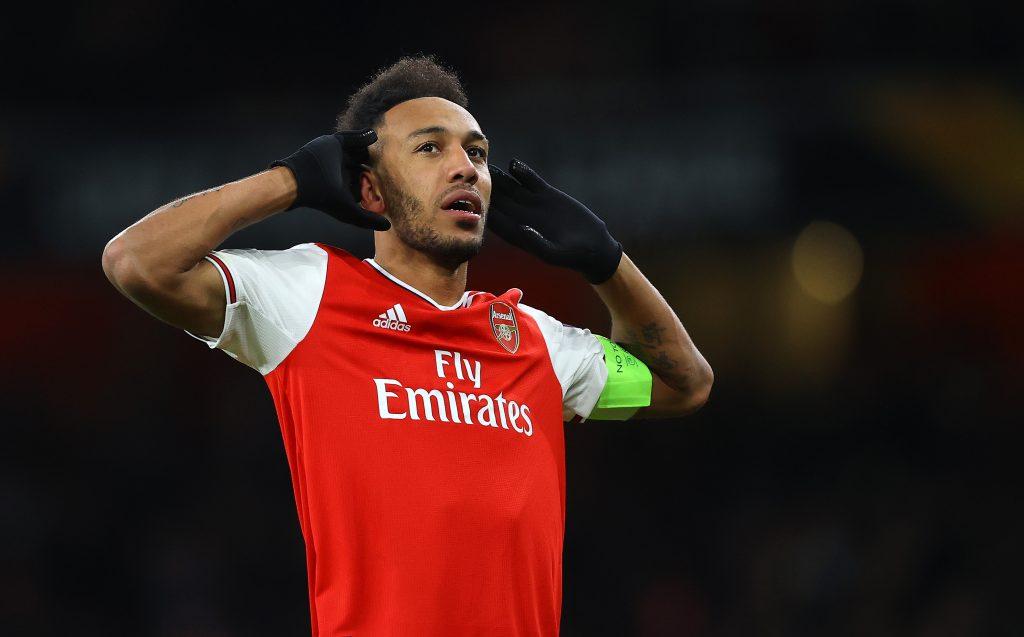 Pierre-Emerick Aubameyang celebrates after scoring for Arsenal