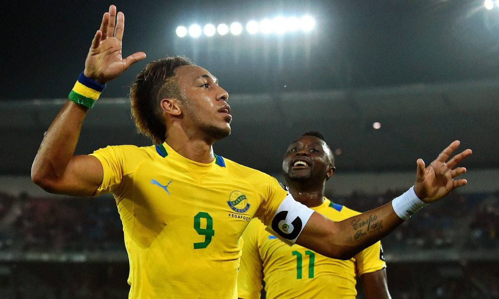 Aubemeyang celebrates scoring for Gabon