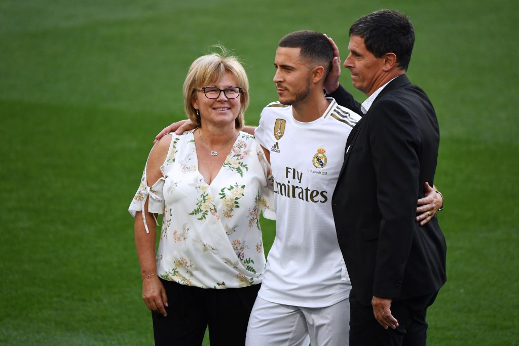 Eden Hazard, his mother and father after he signed for Real Madrid
