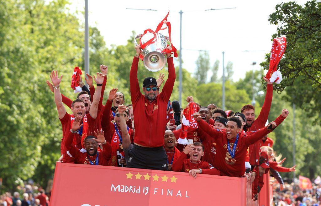 Jurgen Klopp celebrates winning the Champions League in 2019