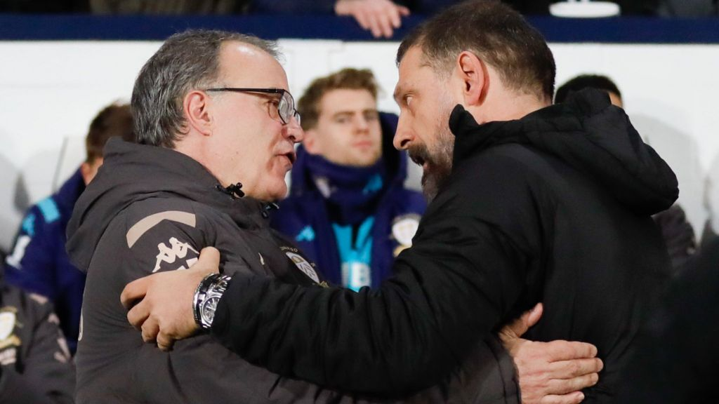 Leeds boss Marcelo Bielsa with West Brom manager Slaven Bilic