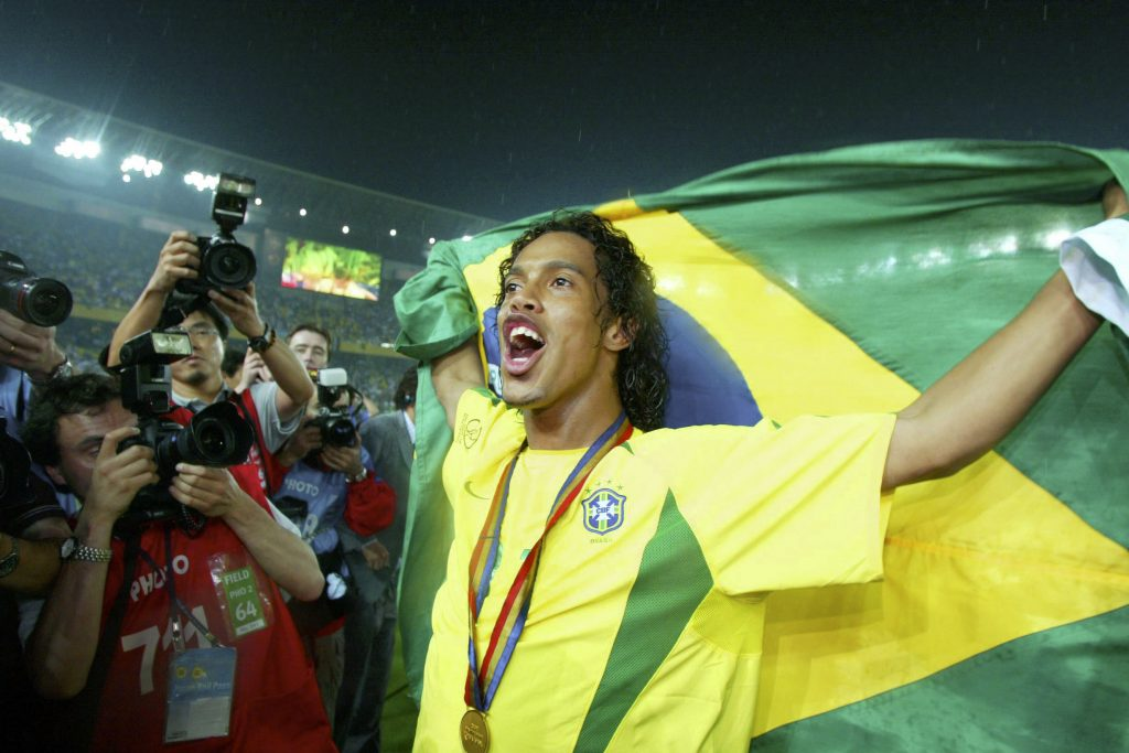 Ronaldinho celebrates winning the world cup