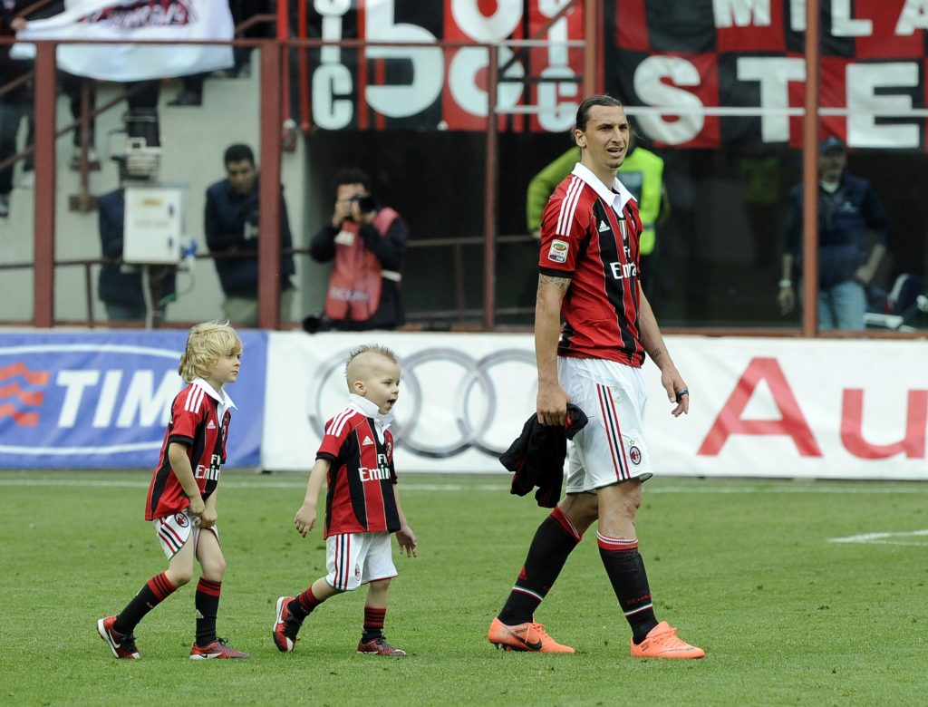 Zlatan and his children during his time at AC Milan